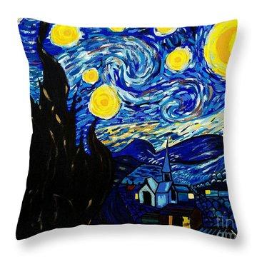 Van Gogh Starry Night  Throw Pillow by Scott D Van Osdol