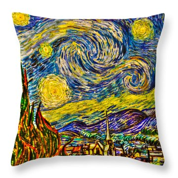 Van Gogh's 'starry Night' - Hdr Throw Pillow by Randy Aveille