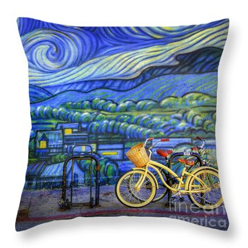 Van Gogh's Yellow And Green Bicycles Throw Pillow