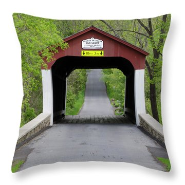Van Sandt Covered Bridge - Bucks County Pa Throw Pillow by Bill Cannon