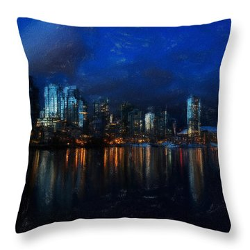 Vancouver At Dusk Throw Pillow