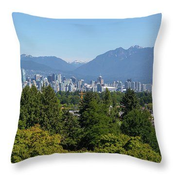 Vancouver Bc City Skyline From Queen Elizabeth Park Throw Pillow by David Gn