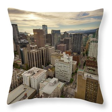 Vancouver Bc Cityscape Aerial View Throw Pillow by David Gn