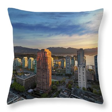 Vancouver Bc Cityscape At Sunset Throw Pillow by David Gn
