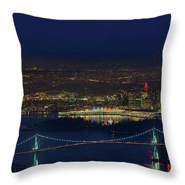Vancouver Bc Cityscape By Lions Gate Bridge Throw Pillow