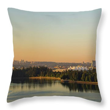 Vancouver Bc Cityscape By Stanley Park Morning View Throw Pillow by David Gn