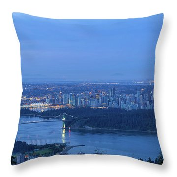 Vancouver Bc Cityscape During Blue Hour Dawn Throw Pillow by David Gn