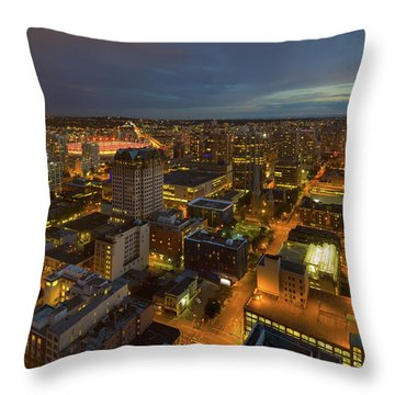 Vancouver Bc Cityscape During Evening Twilight Throw Pillow by David Gn