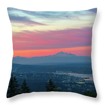 Vancouver Bc Cityscape With Cascade Range Morning View Throw Pillow by David Gn