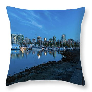 Vancouver Bc Skyline Along Stanley Park Seawall Throw Pillow by David Gn