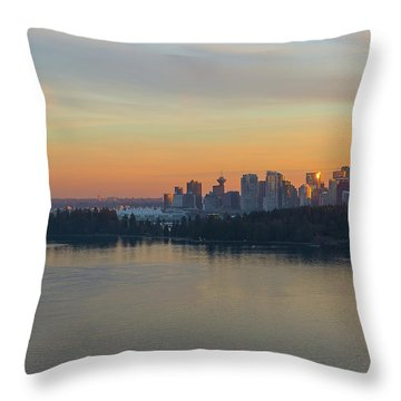 Vancouver Bc Skyline And Stanley Park At Sunset Throw Pillow