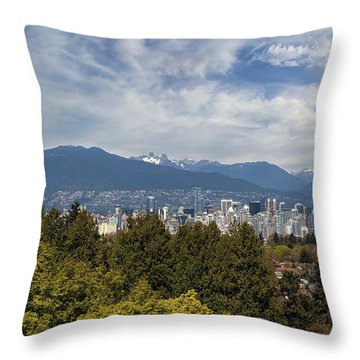 Vancouver Bc Skyline Daytime View Throw Pillow by David Gn