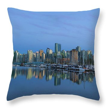 Vancouver Bc Skyline During Blue Hour Panorama Throw Pillow by David Gn