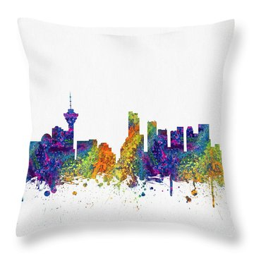 Vancouver British Columbia Skyline Color03 Throw Pillow