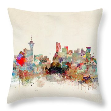 Throw Pillow featuring the painting Vancouver City Skyline by Bri B