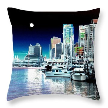 Vancouver Harbor Moonrise  Throw Pillow