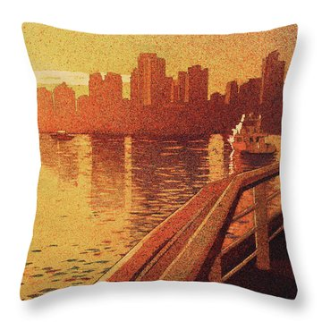 Throw Pillow featuring the painting Vancouver Morning- Bc by Ryan Fox