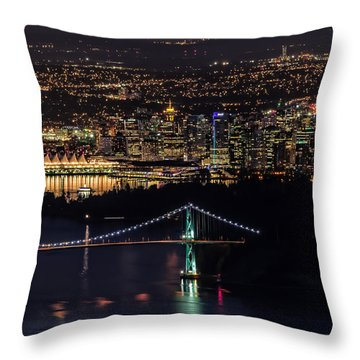 Vancouver Night From Cypress Mountain Throw Pillow