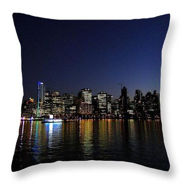 Vancouver Night Lights Throw Pillow by Will Borden