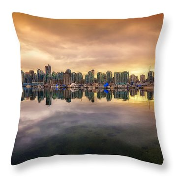Throw Pillow featuring the photograph Vancouver Reflections by Eti Reid