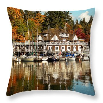 Vancouver Rowing Club In Autumn Throw Pillow