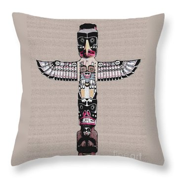 Vancouver Totem - 4 Throw Pillow by Linda  Parker