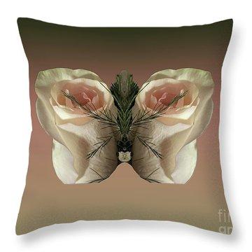 Vanilla Butterfly Rose Throw Pillow