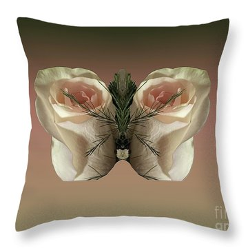 Vanilla Butterfly Rose Throw Pillow