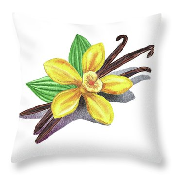 Vanilla Sticks And Flower Throw Pillow