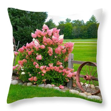 Vanilla Strawberry Hydrangea Throw Pillow