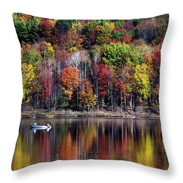 Vanishing Autumn Reflection Landscape Throw Pillow