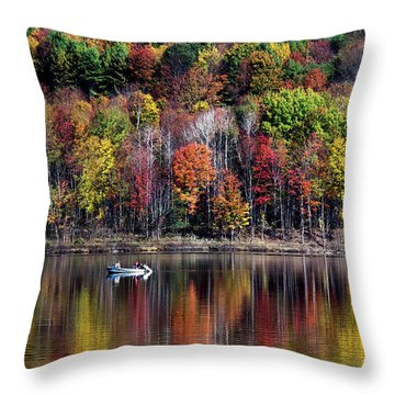 Vanishing Autumn Reflection Landscape Throw Pillow by Christina Rollo