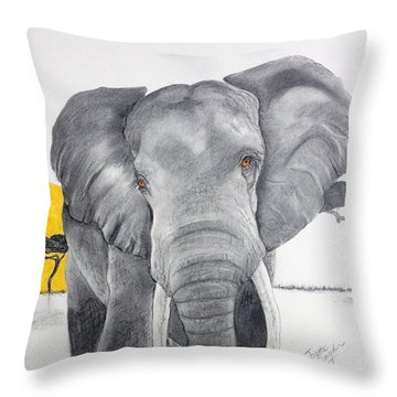Vanishing Elephant Throw Pillow