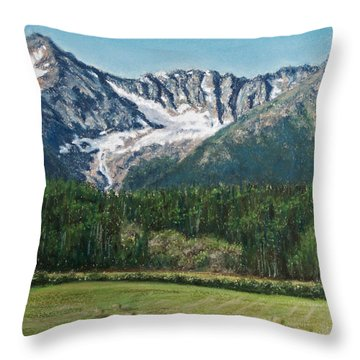 Throw Pillow featuring the painting Vanishing Glacier by Stanza Widen