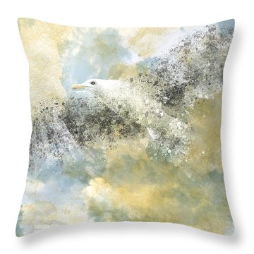 Vanishing Seagull Throw Pillow