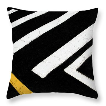 Throw Pillow featuring the photograph Vanishing Traffic Lines With Colorful Edge by Gary Slawsky