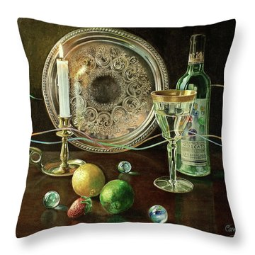 Vanitas Still Life By Candlelight With Les Bourgeois Wine Throw Pillow