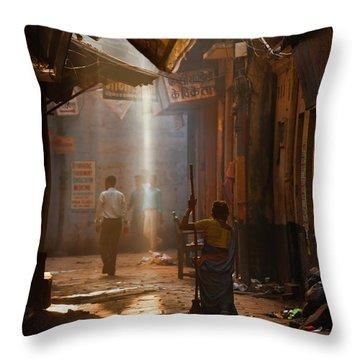 Varanasi Morning Throw Pillow