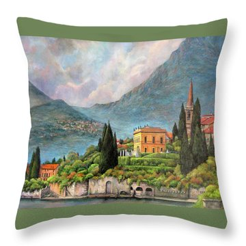 Varenna Italy Throw Pillow by Donna Tucker