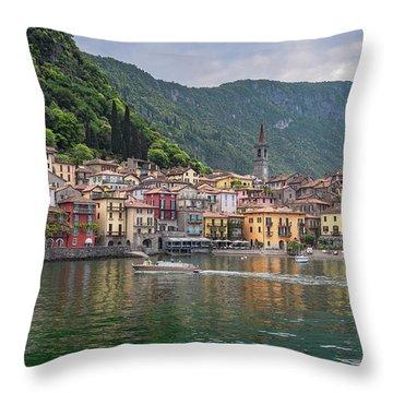 Varenna Italy Old Town Waterfront Throw Pillow