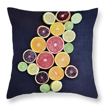 Throw Pillow featuring the photograph Variety Of Citrus Fruits by Stephanie Frey