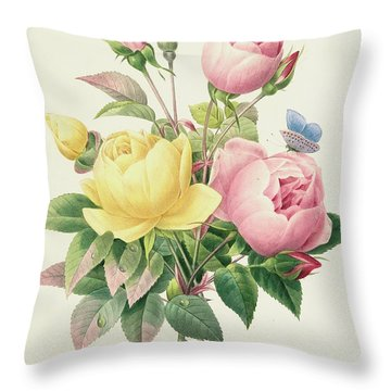 Variety Of Yellow Roses And Bengal Roses Throw Pillow