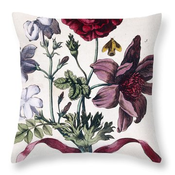 Various European Insects And Flowers Throw Pillow