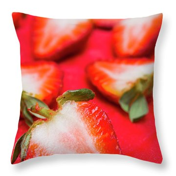 Various Sliced Strawberries Close Up Throw Pillow