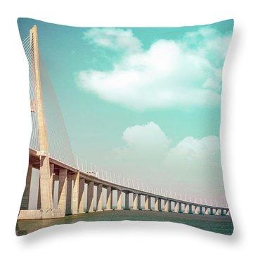 Vasco Da Gama Bridge Lisbon Portugal  Throw Pillow