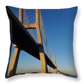 Vasco Da Gama Bridge Lisbon 3 Throw Pillow