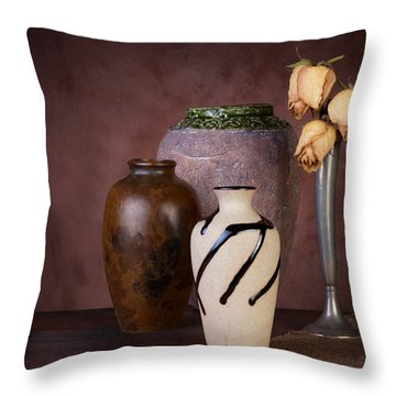 Vase And Roses Still Life Throw Pillow