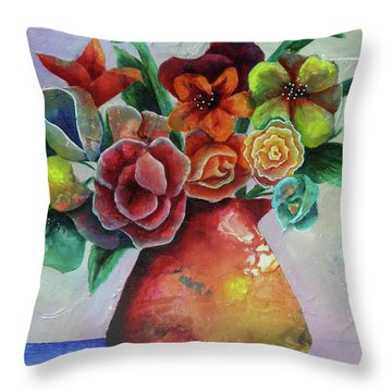 Vase Full Of Peace And Delight Throw Pillow by Terry Honstead