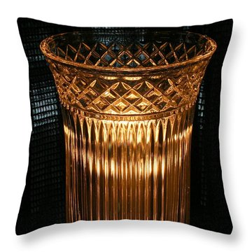 Vase In Amber Light Throw Pillow