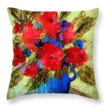 Vase Of Delight-still Life Painting By V.kelly Throw Pillow